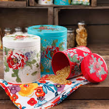 Red Ceramic Canisters For The Kitchen The Pioneer Woman Country Garden 3 Piece Canister Set Walmart Com