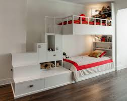 kids room white bunkbed with bookshelves and sconces also cabinet