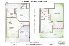 Townhouse Plan Design Together With 10 Marla House Plan On 3 Marla House Map Design