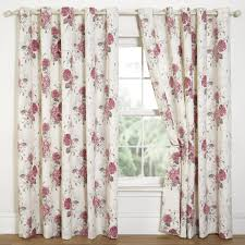 hydrangea floral print eyelet lined curtains natural pink 7