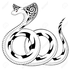 snake cobra in the form of a tribal tattoo royalty free cliparts