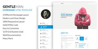 resume html template gentleman responsive cv resume html template by labartisan
