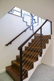 interior cable railing staircase modern with floor carpet