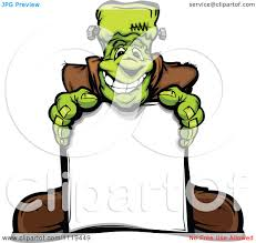 cartoon of a halloween happy frankenstein standing behind a sign