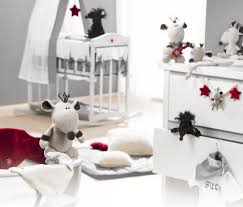 bedroom neutral nursery baby decor with teak wood furniture design