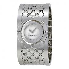 silver bracelet watches images Gucci ladies series 112 twirl bangle style wide white dial watch jpg