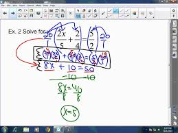 algebra i solving multi step equations involving fractions and