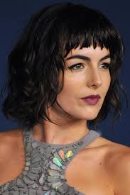 short hairstyles with center part and bangs 40 cute styles featuring curly hair with bangs