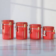 red kitchen canister set red kitchen canisters jars you ll love wayfair