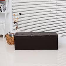 homcom rectangular pu leather storage bench brown aosom co uk
