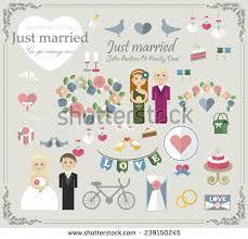 set wedding elements wedding car glass stock vector 239150245
