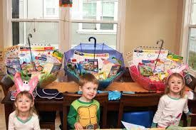 filled easter baskets for kids make your own umbrella easter baskets non candy centered allergy