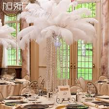 Centerpiece With Feathers by White Ostrich Feathers Plume Centerpiece For Wedding Party Table