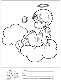 kids coloring page angel on cloud halo coloring sheet