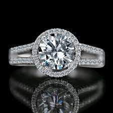 simulated engagement ring radiant 2 ct split shank paved floating halo simulated