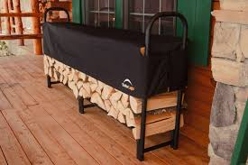 portable indoor firewood rack storage with black metal frame and