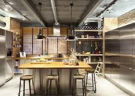 cuisine industrielle inox design interieur cuisine industrielle îlot central inox bois