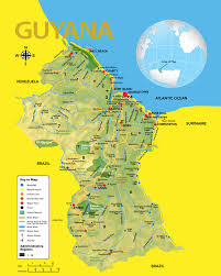 The Map Of South America by Guyana Road Map Showing All The Major Roads With Capital City And
