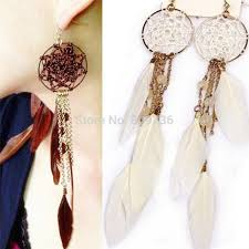 feather earrings online bohemia feather pendant design catcher dangle