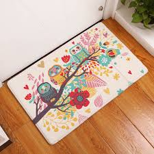 Owl Kitchen Rugs Monily Welcome Waterproof Floor Mat Flower Owl Cage