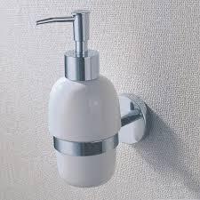 ceramic liquid soap dispenser holder with brass for shower