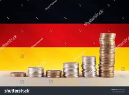 The Germany Flag Symbol Inflation Diagram Coins Background Germany Stock Foto