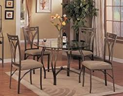 Amazoncom  Pc Metal And Glass Dining Room Table Set In A - Glass dining room furniture