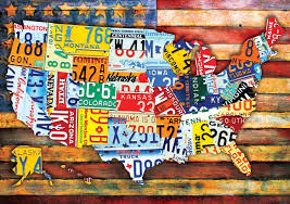 United States License Plate Map by Amazon Com Buffalo Games Road Trip Usa 300 Large Piece Jigsaw