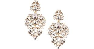 real earrings lyst by badgley mischka pavo real chandelier statement