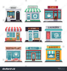 modern fast food restaurant shop buildings stock vector 613977149