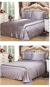 Full Size Duvet Covers Aliexpress Com Buy Silver Grey Silk Bedding Set Satin Sheets