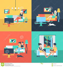 at home interiors flat vector family and couple at home interior watch tv stock