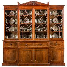 regency mahogany library breakfront secretaire bookcase attributed