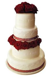 simple but very elegant 4 tiers wedding cake with red natural