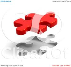 clipart illustration of a single red puzzle piece floating above a