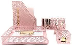 Pink Desk Accessories Set Monaco Pink Desk Organizer For 5