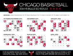 printable bulls schedule chicago bulls announce 2014 15 schedule chicago bulls