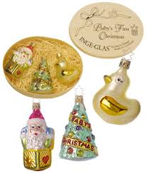 baby u0027s first christmas 3 piece boxed ornament set by inge glas