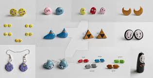 polymer clay stud earrings anime and polymer clay stud earrings by artzierush on deviantart