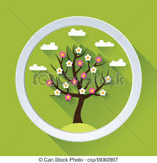 vector clipart of background with tree in flat design style