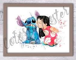 lilo stitch art print ohana stitch quote colorful poster