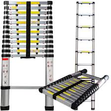 telescopic extension ladder heavy duty giant aluminum 12 5 feet