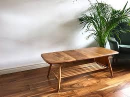 vintage ercol coffee table blonde with magazine shelf windsor habiib