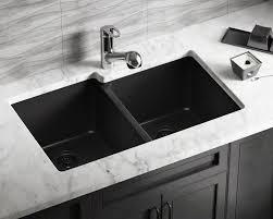 black countertop with black sink 801 black double offset bowl trugranite sink