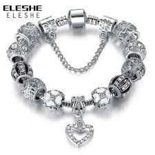 diy crystal bead bracelet images Eleshe fashion silver heart charms bracelet bangle for women diy jpg