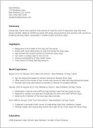 Resume For Work Professional Dog Trainer Templates To Showcase Your Talent