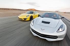 porsche 911 vs corvette 2014 chevy corvette stingray vs 2013 porsche 911 track tested