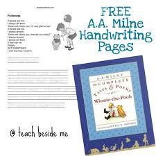milne lesson u0026 free handwriting pages handwriting