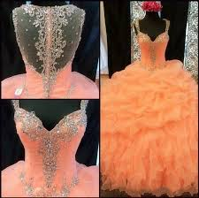 coral quince dresses 2017 coral quinceanera dresses crystals ruffles layered gown