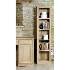 Skinny Tall Bookshelf Fusion Solid Oak Wooden Furniture Narrow Slim Tall Storage